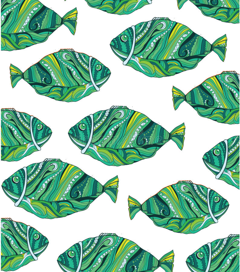 il bello pesce variopinto è dipinto a mano con i modelli illustrazione vettoriale