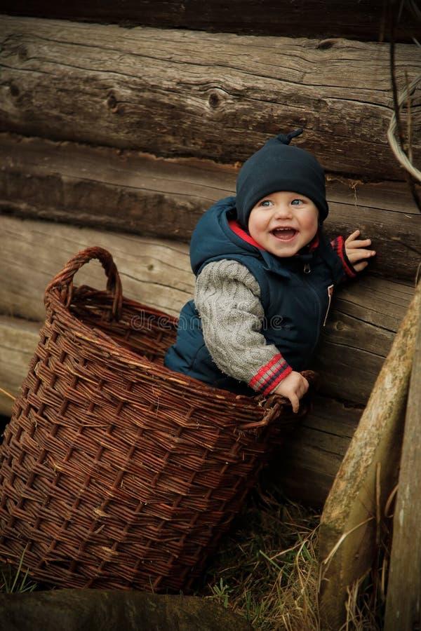 Il bello ragazzo caro ha scalato nel canestro di vimini fotografie stock libere da diritti