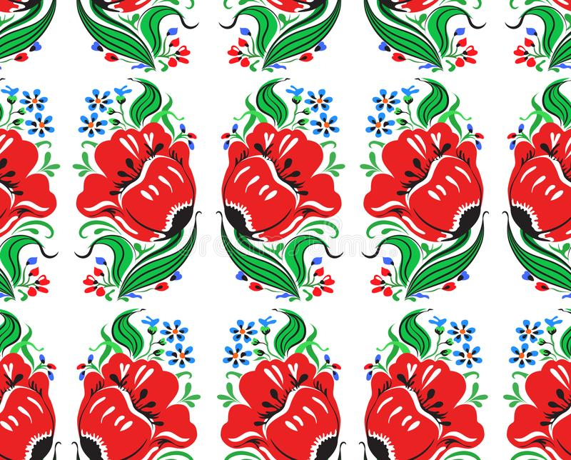 Il bello rosso immaginario fiorisce il modello senza cuciture royalty illustrazione gratis