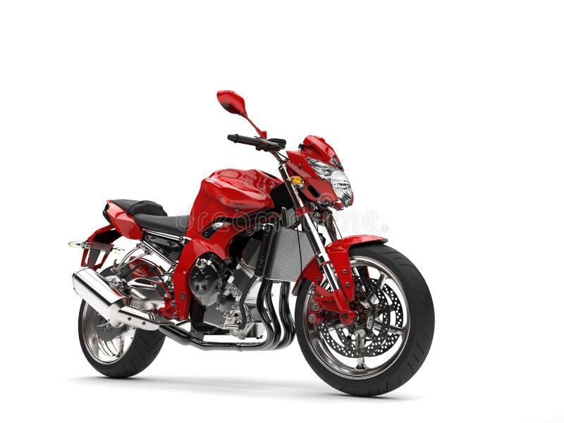 Il bello rosso mette in mostra il motociclo illustrazione vettoriale