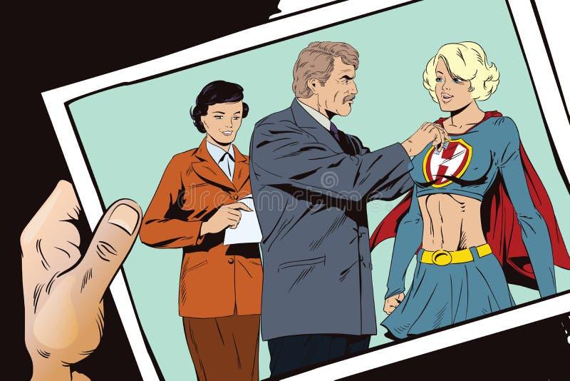 Il bello supereroe della ragazza ha assegnato una medaglia Illustrazione di riserva illustrazione di stock
