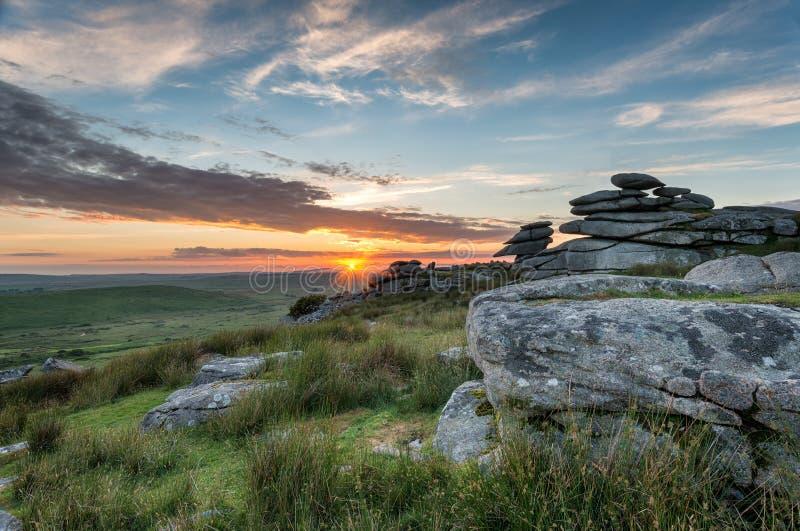 Il bello tramonto su Bodmin attracca immagini stock