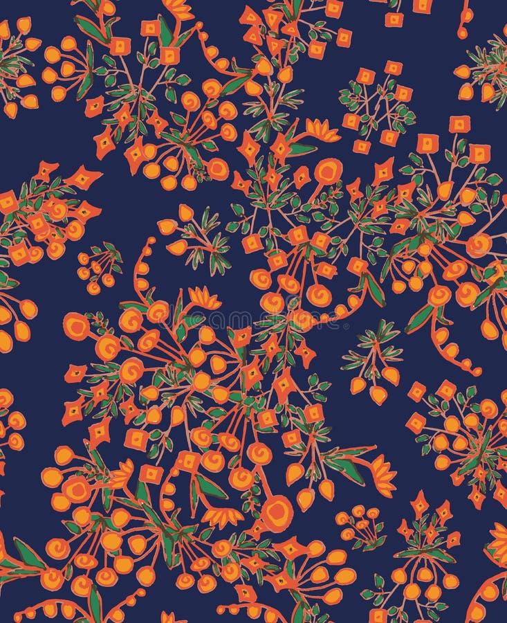 Il bello witth senza cuciture del modello di vettore ha semplificato i fiori arancio su fondo blu illustrazione vettoriale