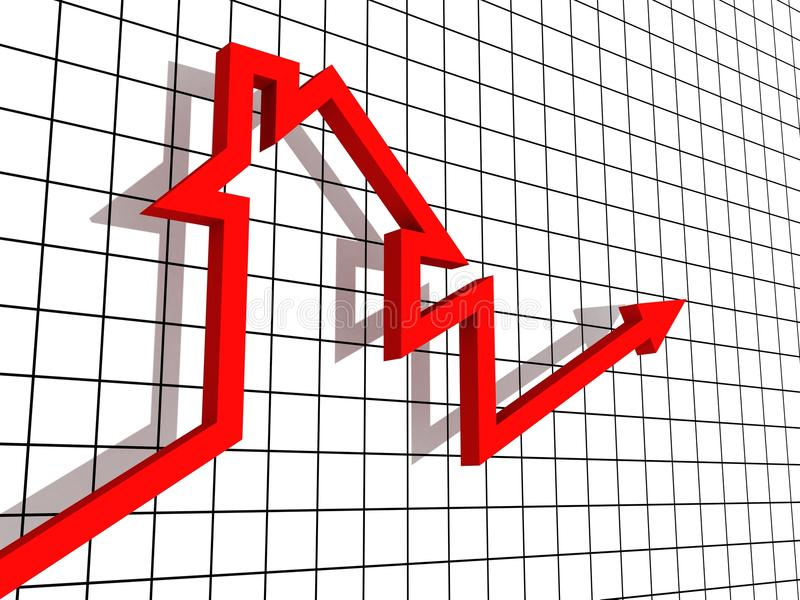 Il bene immobile crescente alloggia il grafico di vendite su bianco illustrazione vettoriale