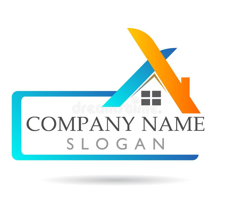 Il bene immobile ed il logo domestico con il rettangolo modellano, segno dell'elemento dell'icona di logo di concetto della socie illustrazione di stock