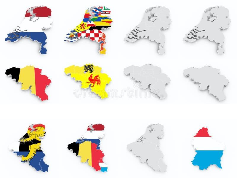 Il Benelux inbandiera la compilazione illustrazione di stock