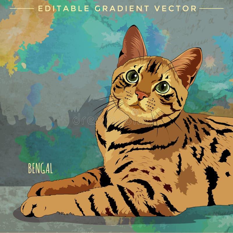 Il Bengala Cat Illustration illustrazione di stock