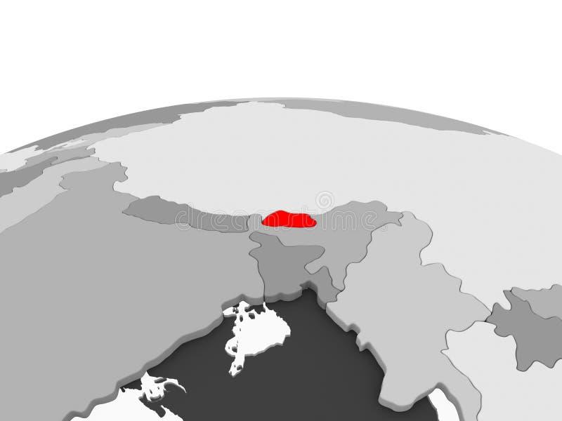 Il Bhutan sul globo grigio illustrazione vettoriale