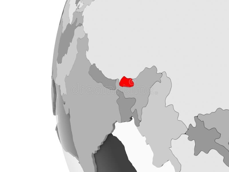 Il Bhutan sul globo grigio royalty illustrazione gratis