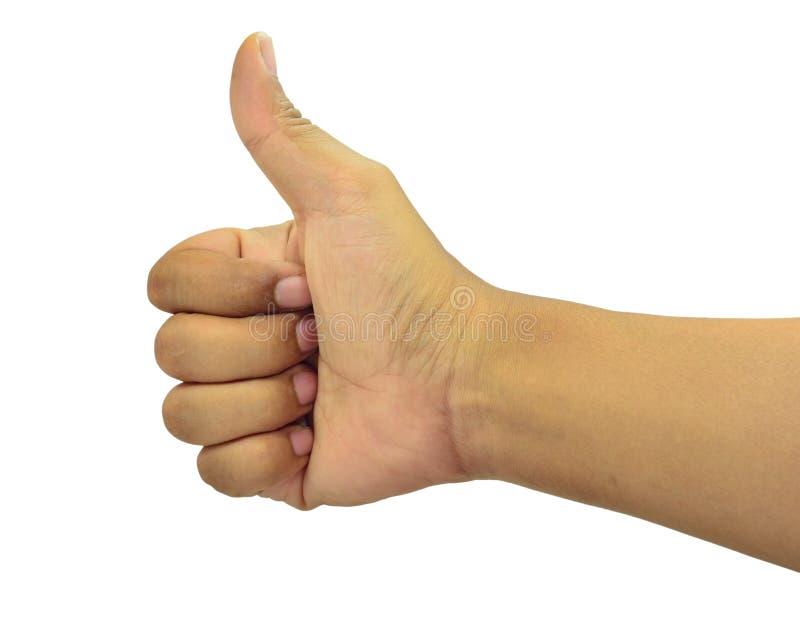 Il bianco è l'immagine di sfondo per i pollici Participio di apprezzamento o buon presente o eccellente fotografie stock