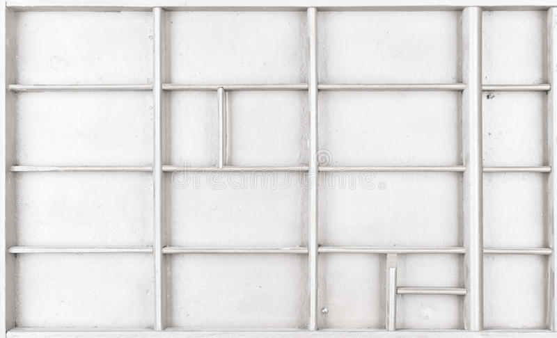 Il bianco di legno vuoto ha dipinto il seme o le lettere o la scatola dei collectibles fotografia stock