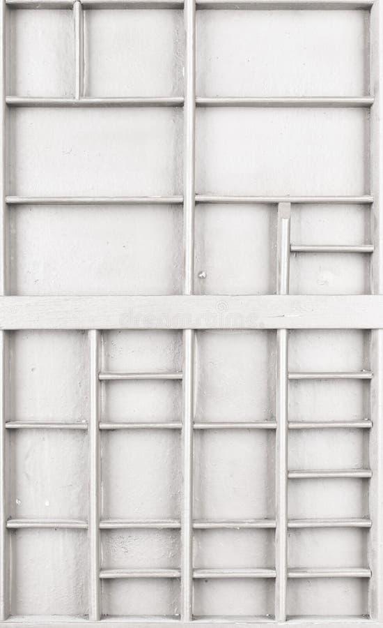 Il bianco di legno vuoto ha dipinto il seme o le lettere o la scatola dei collectibles immagini stock