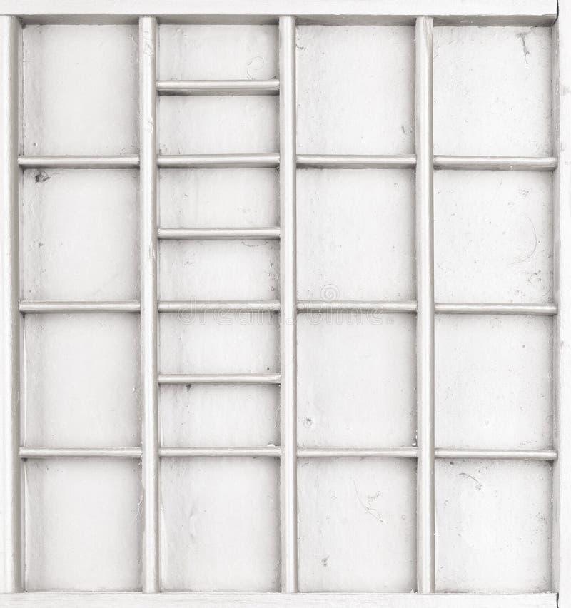 Il bianco di legno vuoto ha dipinto il seme o le lettere o la scatola dei collectibles fotografie stock