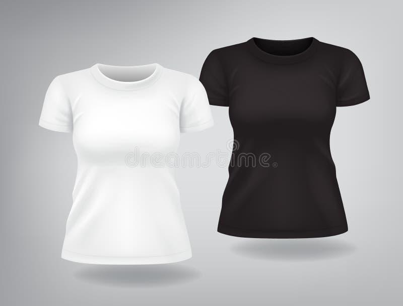Il bianco e le magliette della donna di colore con le brevi maniche deridono su, posto per la stampa illustrazione di stock