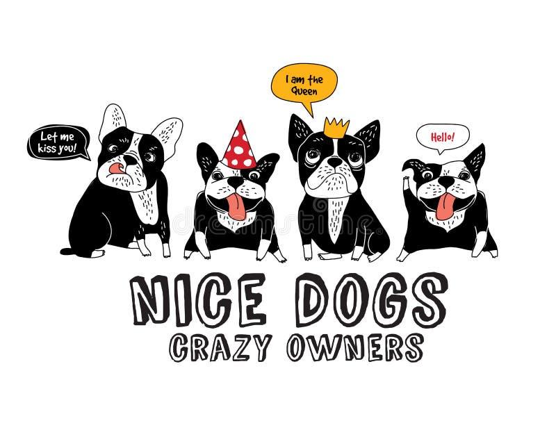 Il bianco ed il divertimento dell'isolato del bulldog francese degli animali domestici firmano illustrazione vettoriale