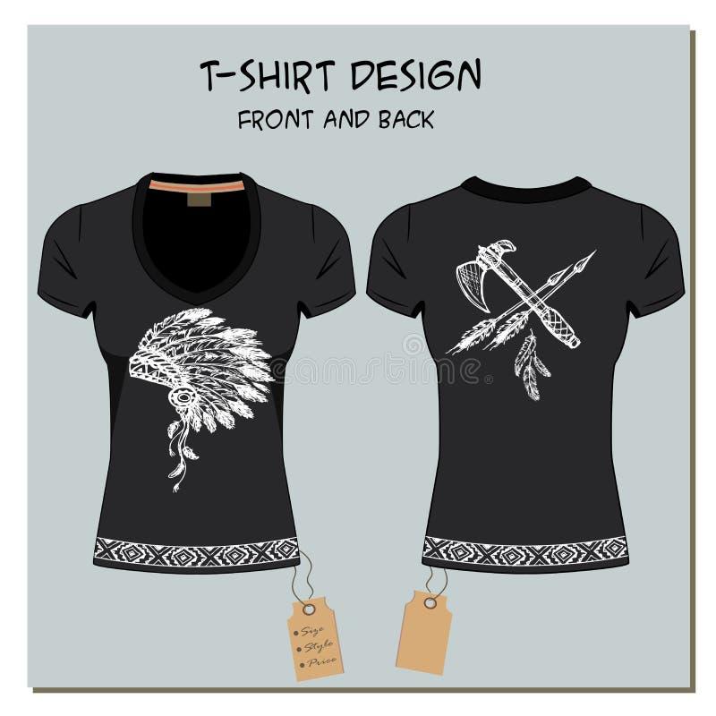 Il bianco ed il nero progettano le magliette della ragazza, con l'etichetta, vettore royalty illustrazione gratis