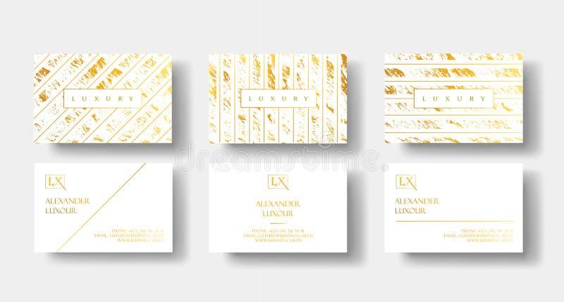 Il bianco elegante e l'insieme di biglietti da visita di lusso dell'oro con struttura di marmo ed oro dettagliano il modello di v illustrazione vettoriale