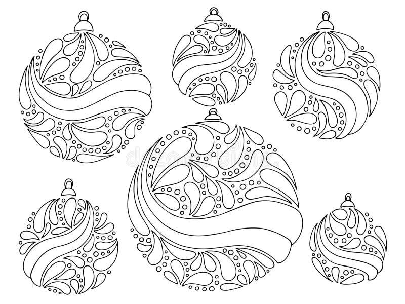 Il bianco grafico del nero del nuovo anno delle palle di Natale ha isolato il vettore stabilito dell'illustrazione illustrazione di stock