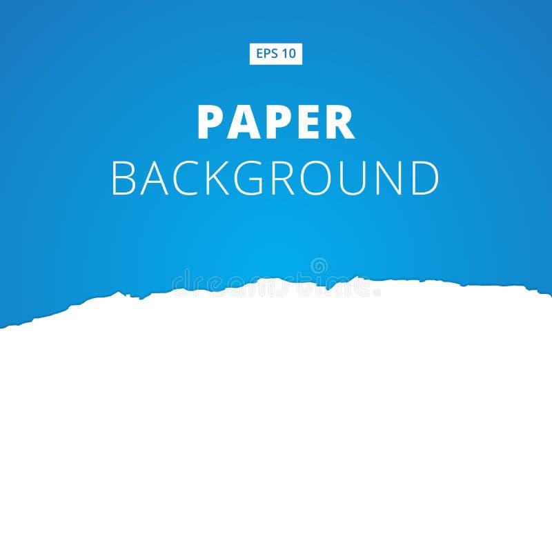 Il bianco ha strappato la carta tagliata su fondo blu, vettore illustrazione di stock