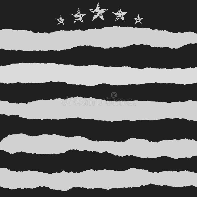 Il bianco ha strappato le strisce, la carta per appunti per testo o il messaggio attaccato su fondo nero con la stella illustrazione di stock