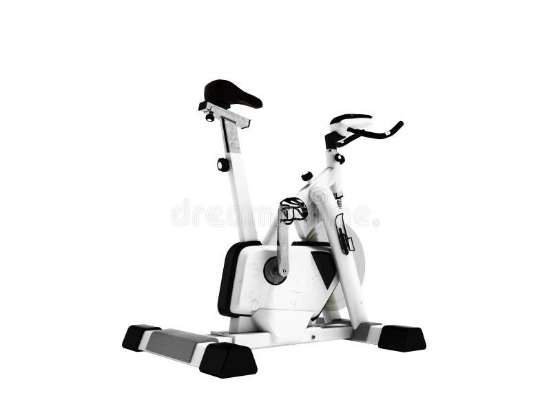 Il bianco moderno con il nero inserisce una bici di esercizio 3d rende su wh fotografia stock