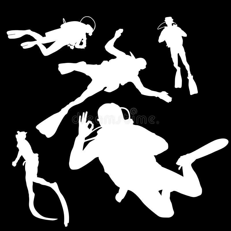 Il bianco nel nero, un uomo è impegnato nell'immersione subacquea, siluette illustrazione vettoriale