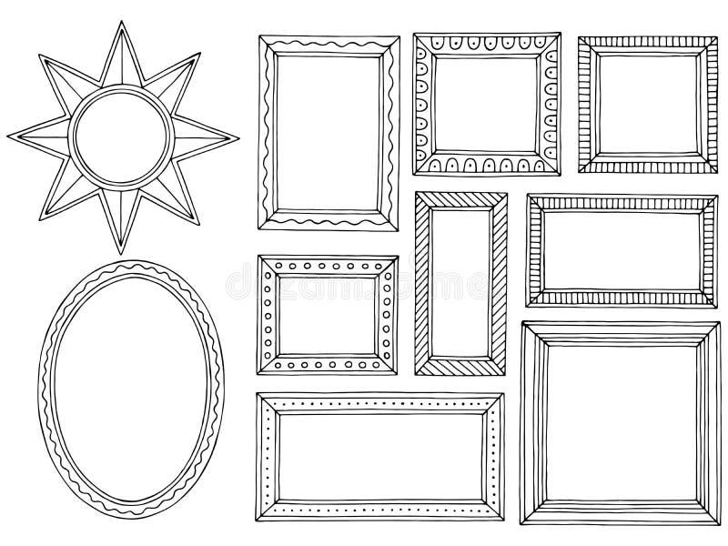 Il bianco nero grafico della cornice ha isolato il vettore stabilito dell'illustrazione di schizzo illustrazione di stock