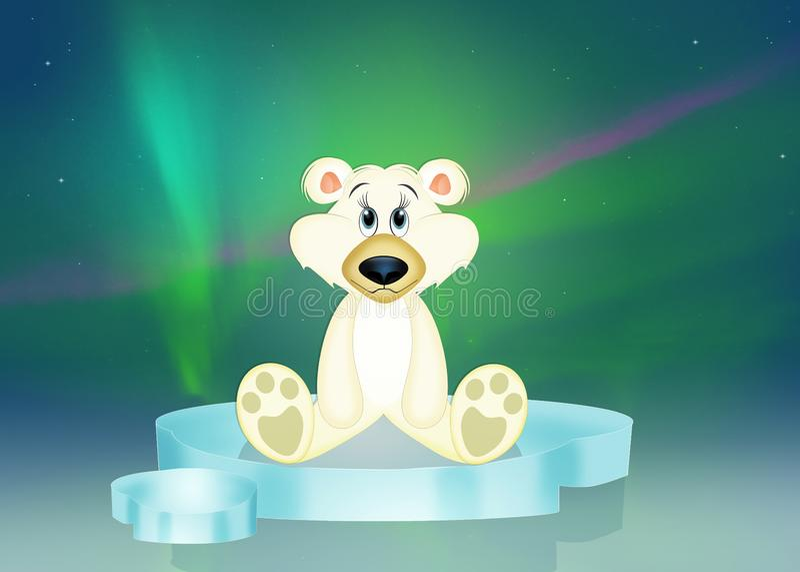 Il bianco riguarda l'iceberg nell'aurora boreale royalty illustrazione gratis