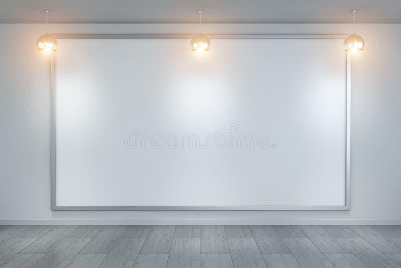 Il bianco soppressione la tela su una rappresentazione della parete 3D illustrazione vettoriale