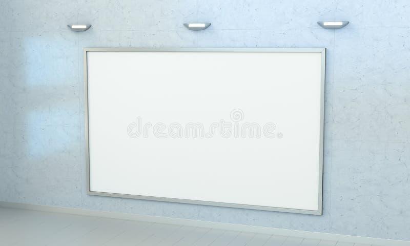 Il bianco soppressione la tela su una rappresentazione della parete 3D royalty illustrazione gratis