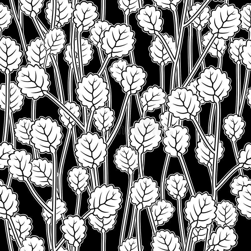 Il bianco va sui ramoscelli, modello senza cuciture del nero illustrazione di stock