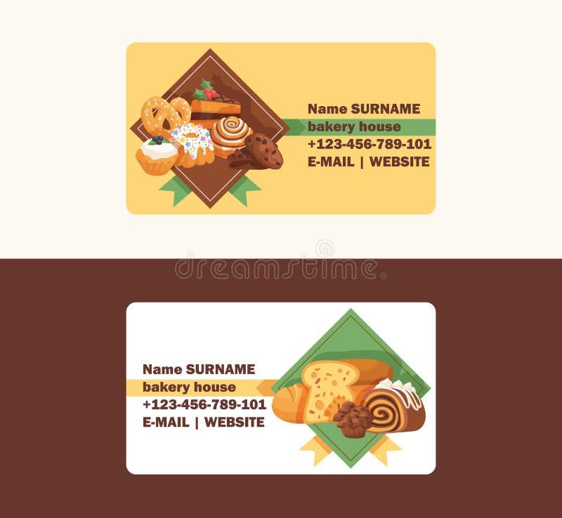 Il biglietto da visita di vettore della pasticceria ha cotto il bigné della crema del dolce ed il dessert dolce della confezione  illustrazione vettoriale