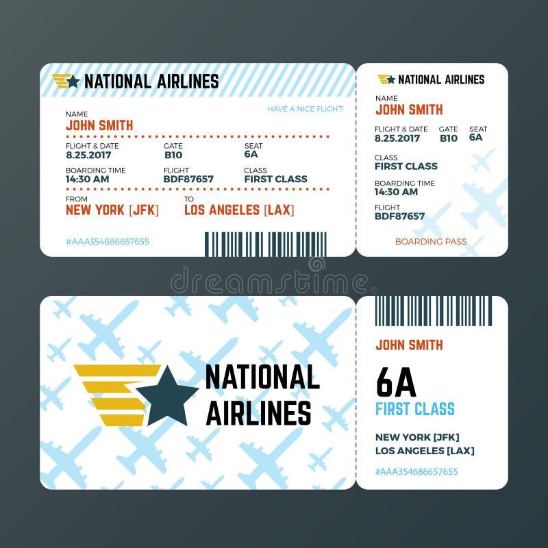 Il biglietto del passaggio di imbarco di volo dell'aeroplano ha isolato il modello di vettore illustrazione vettoriale