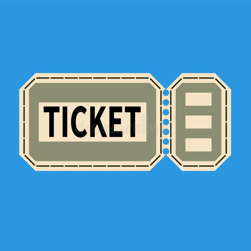 Il biglietto di ingresso con sradica la striscia su un fondo blu-chiaro royalty illustrazione gratis