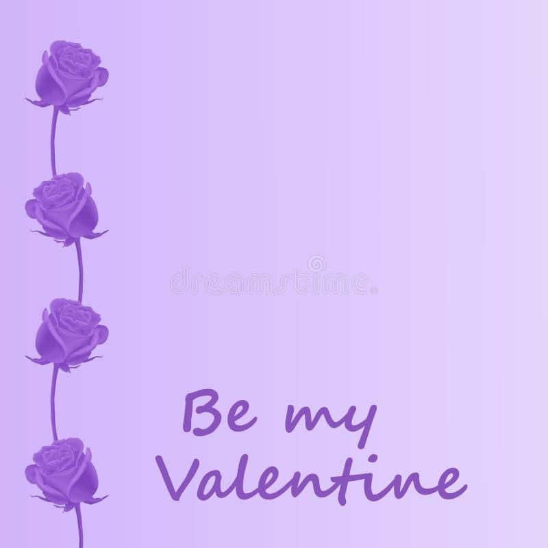 Il biglietto di S. Valentino è aumentato nella porpora illustrazione di stock
