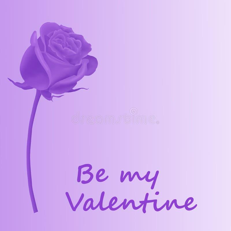 Il biglietto di S. Valentino è aumentato nella porpora royalty illustrazione gratis