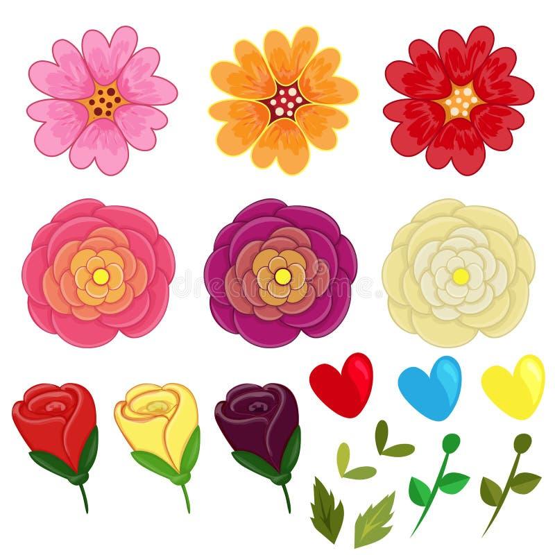 Il biglietto di S. Valentino disegnato a mano del fiore ha messo gli elementi illustrazione di stock