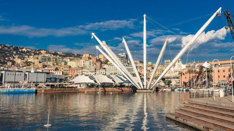 Il Bigo in porto di Genova, Italia fotografia stock libera da diritti