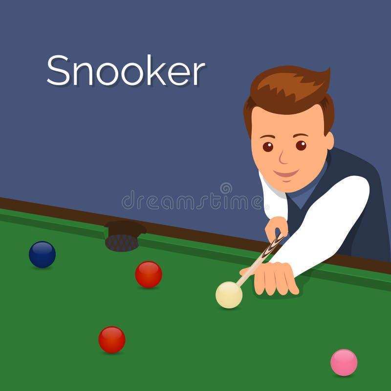 Il biliardo del giocatore Equipaggi lo scopo per avere un impatto sulla palla Il gioco dello snooker royalty illustrazione gratis