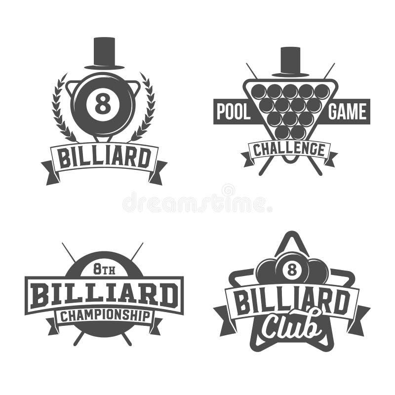 Il biliardo simbolizza le etichette e gli elementi progettati royalty illustrazione gratis