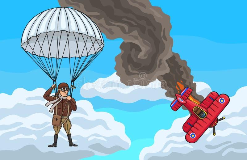 Il biplano schiantato illustrazione di stock