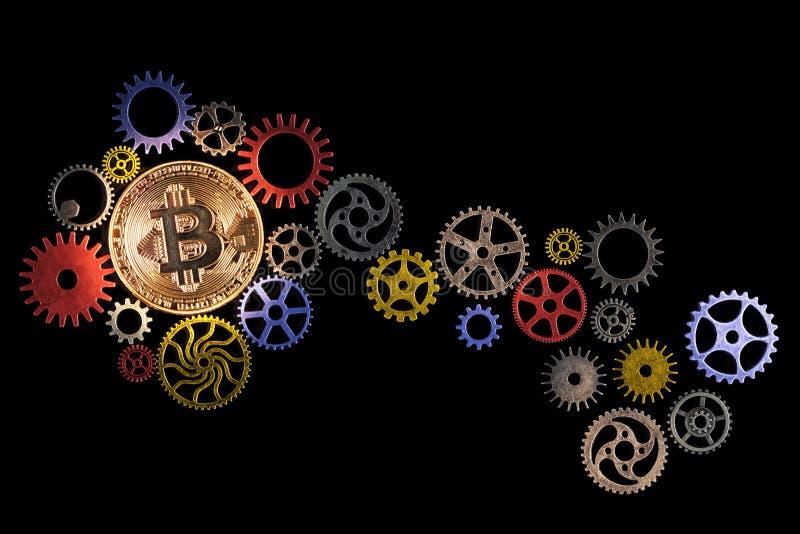 Il bitcoin ed il percorso dorati d'ardore del dente variopinto spinge su fondo nero con lo spazio della copia illustrazione di stock