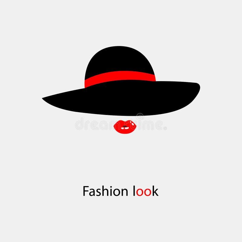 Il black hat elegante delle donne con l'arco per le signore con testo royalty illustrazione gratis
