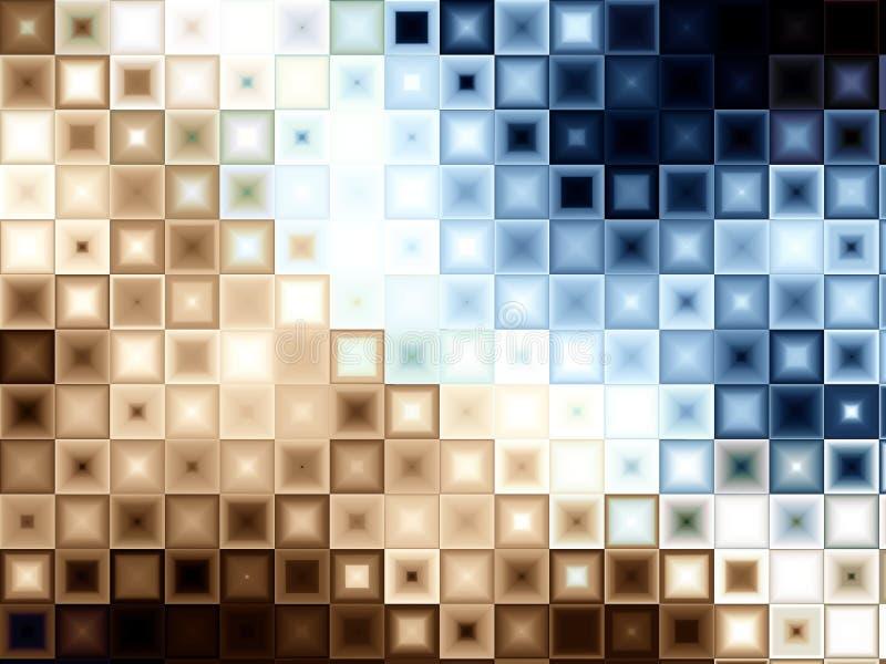 Il blocchetto del Brown blu copre di tegoli i quadrati illustrazione vettoriale