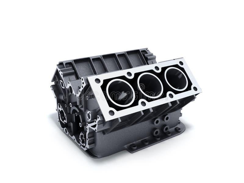 il blocco cilindri dall'automobile con v6 il motore 3d rende su una parte posteriore di bianco illustrazione di stock
