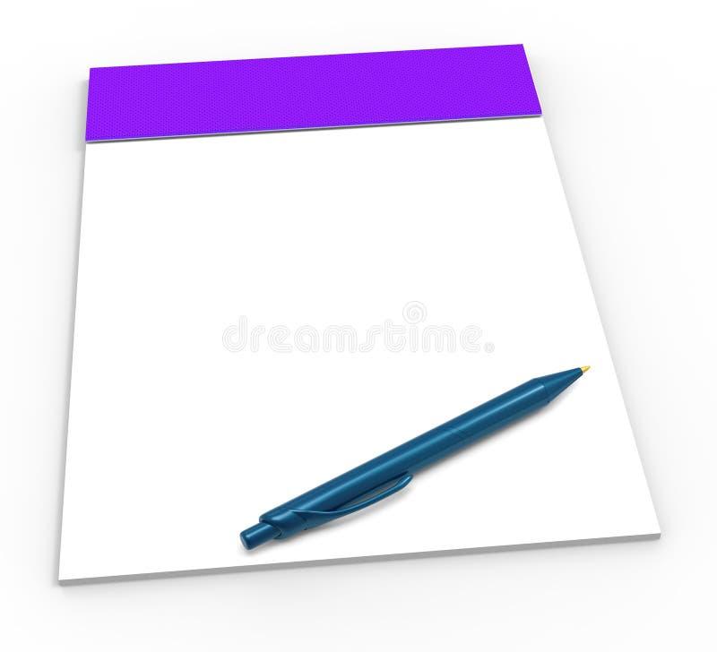 Il blocco note in bianco con lo spazio della copia mostra il taccuino bianco vuoto illustrazione vettoriale