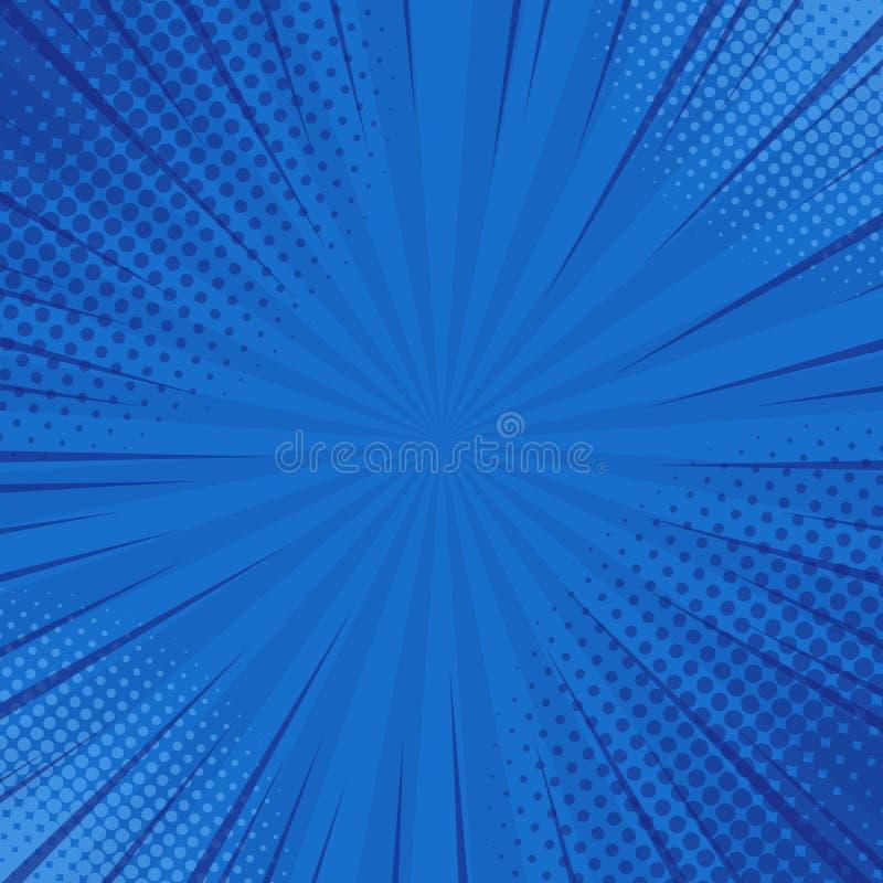 Il blu astratto ha barrato il retro fondo comico con gli angoli di semitono Fondo del turchese del fumetto con le bande ed il sem royalty illustrazione gratis