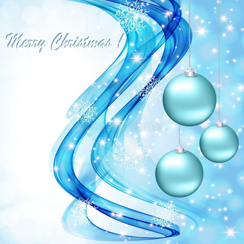 Il blu astratto ondeggia su un fondo bianco con i fiocchi di neve e le palle di Natale royalty illustrazione gratis