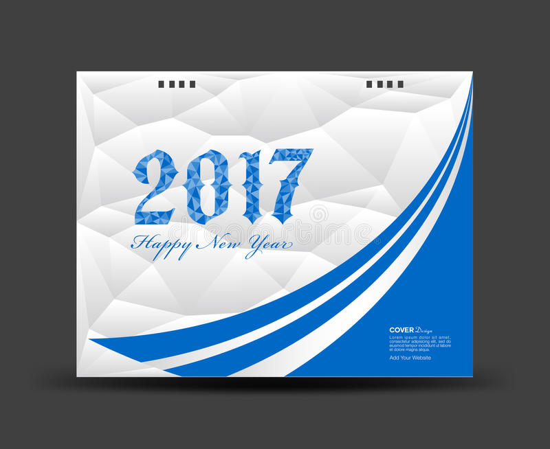Il blu ed il bianco coprono il calendario da scrivania 2017, buon anno 2017 illustrazione vettoriale