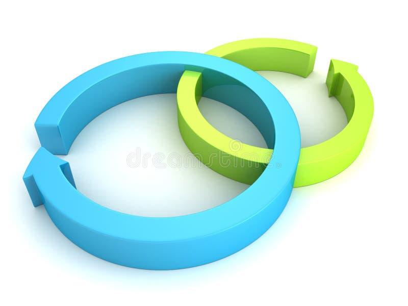 Il blu ed il verde hanno ciclato le frecce trattate su bianco illustrazione vettoriale